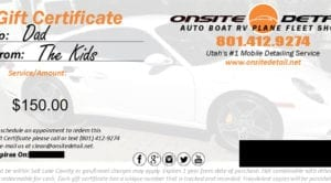 Onsite Detail Gift Certificate