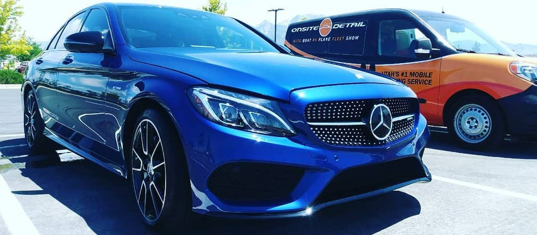 blue Mercedes onsite detail