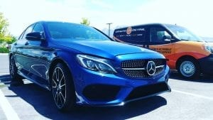 blue Mercedes detailed onsite detail